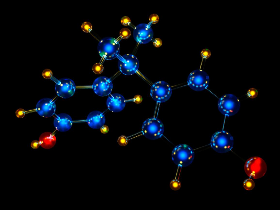 Molecular model of Bisphenol A.