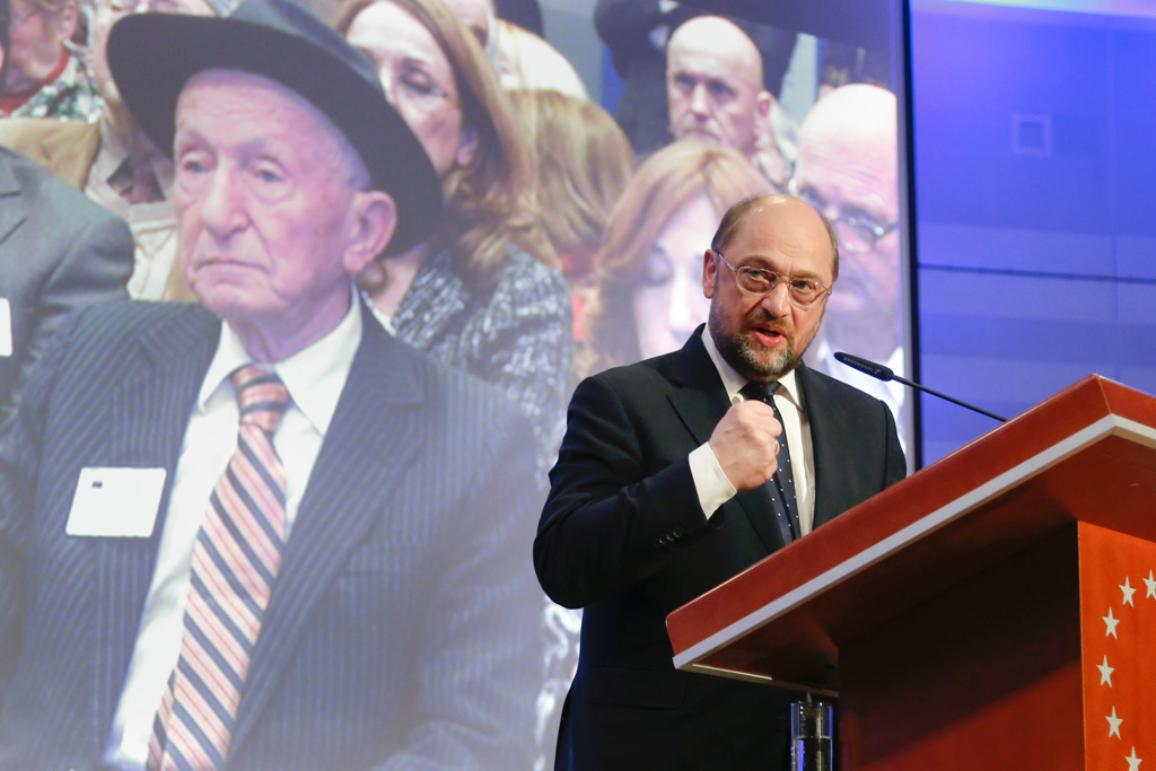 Martin Schulz during the international holocaust remembrance ceremony held at the European Parliament in Brussels