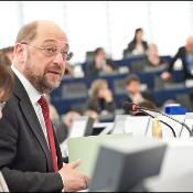 Il presidente del PE Martin Schulz durante il discorso di apertura della plenaria di febbraio.