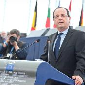 France's President François Hollande during the debates on the future of the EU and the Euro zone, the economic crisis and the EU budget for 2014-2020 with EP political group leaders and Commission President Barroso on Tuesday 05 of February 2013