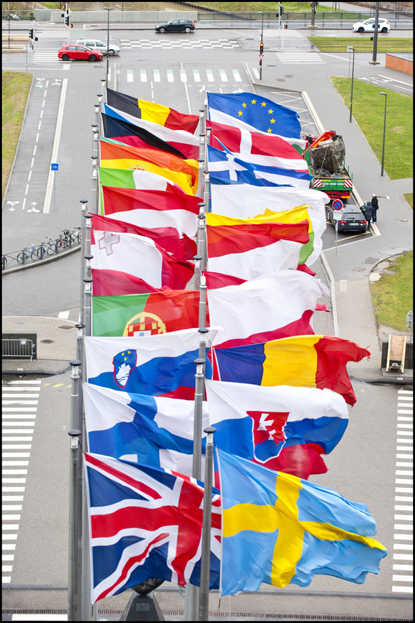 01) EU flags at the main EP entrance in Strasbourg