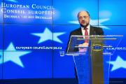 EP President Martin Schulz during the press conference at the EU Summit © EU - Council of EU