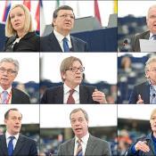 Lucinda Creighton, ministre irlandaise des affaires européennes et membre du Conseil européen; José Manuel Barroso, président de la Commission européenne; Joseph Daul, chef du PPE; Stephen Hughes, vice-président des S&D; Guy Verhofstadt, chef de l'ADLE; Daniel Cohn-Bendit, leader des Verts; Martin Callanan, chef des conservateurs et réformistes; Nigel Farage chef du groupe Europe libertés démocratie; Gabriele Zimmer, chef de la gauche unitaire européenne.