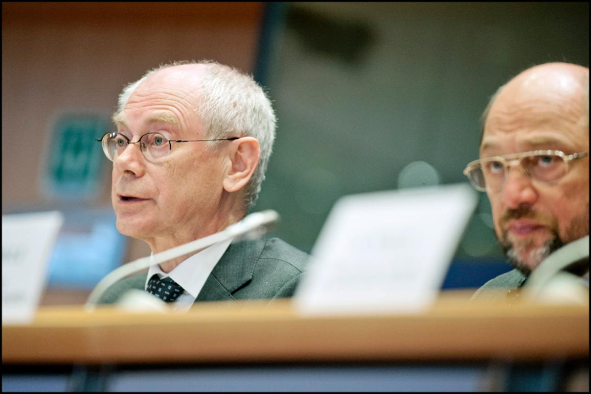 European Council President Herman Van Rompuy next to EP President Martin Schulz during the special Conference of Presidents held today at the EP to discuss with MEPs the outcome of last week EU Summit.