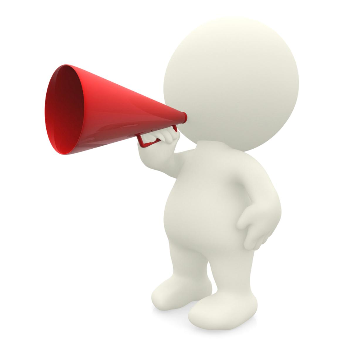 Illustration photo of a person with a megaphone © BELGA_MONKEY