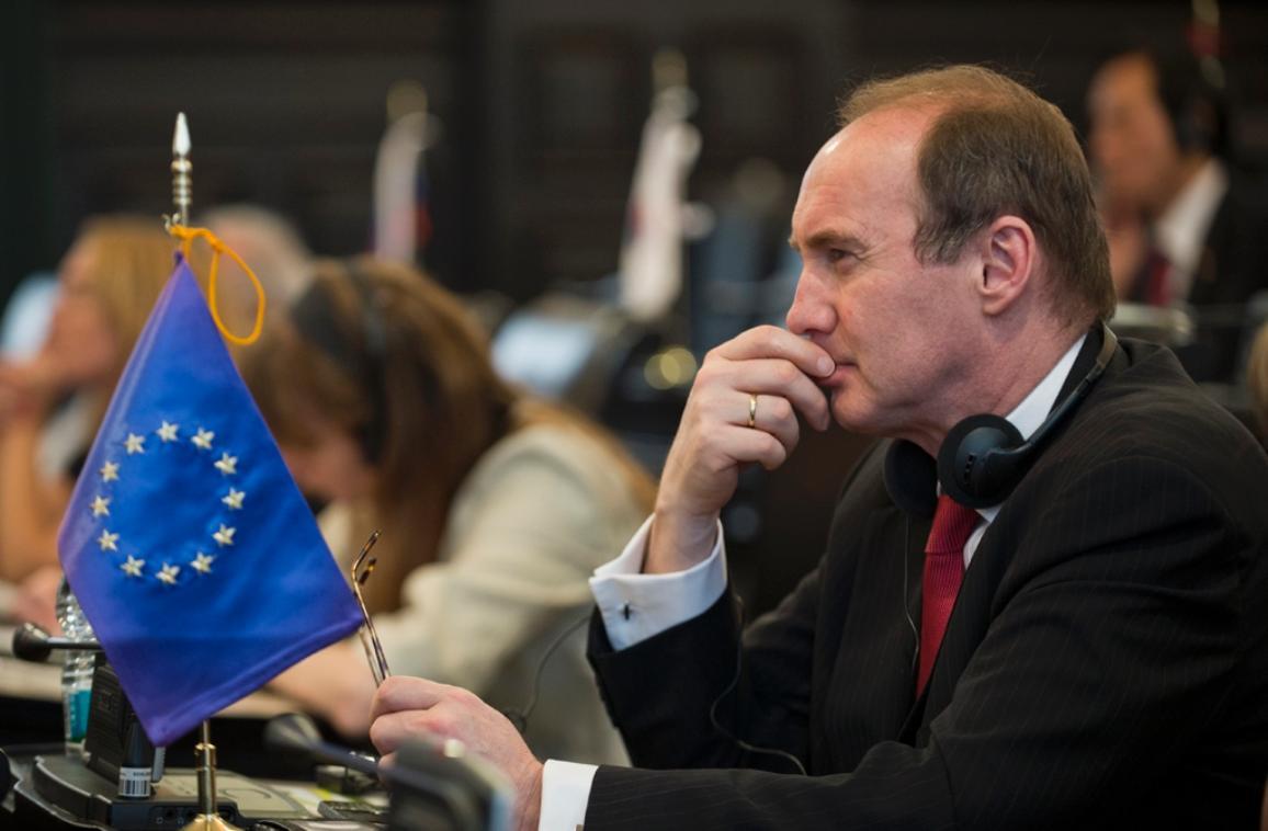 Le vice-président du Parlement européen Othmar Karas lors de la 4e réunion annuelle des présidents de parlements du G20 au Mexique