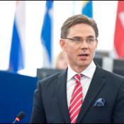 Le Premier ministre finlandais Jyrki Katainen durant son discours sur le futur de l'Europe devant les députés européens réunis em plénière