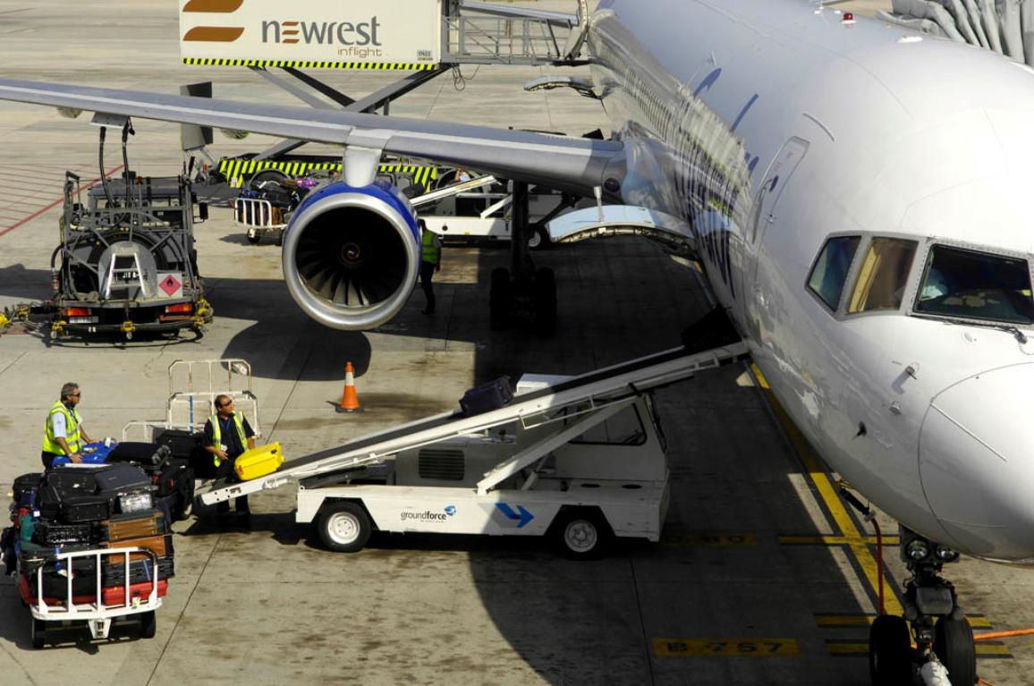 Luggage handling at Gran Canary airport, Spain
