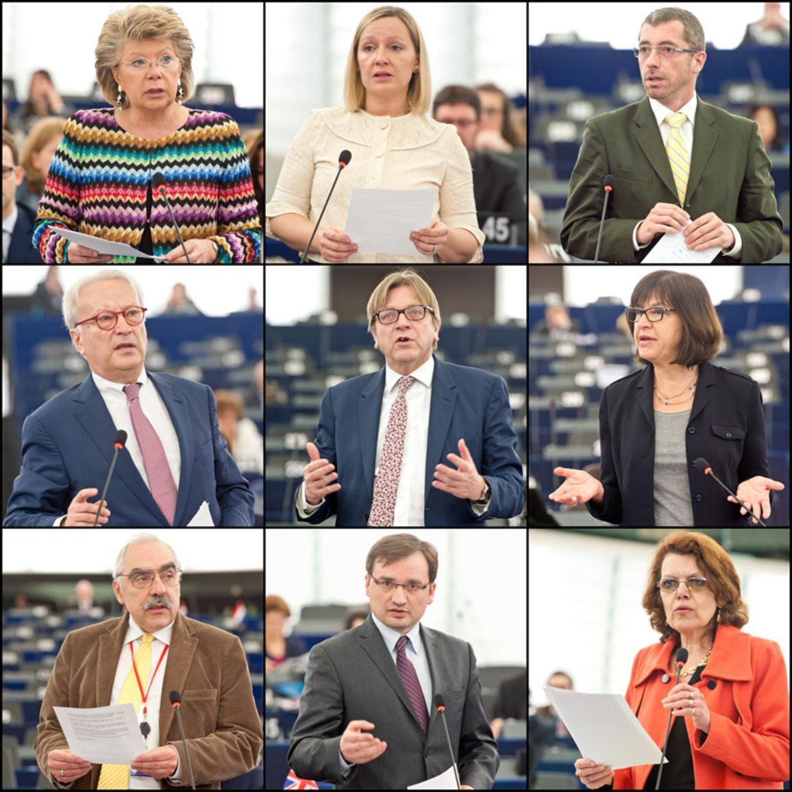 Od lewej do prawej: Viviane Reding, Lucinda Creighton, Frank Engel (EPP), Hannes Swoboda (S&D), Guy Verhofstadt (ALDE), Rebecca Harms (Greens/EFA), Lajos Bokros (ECR), Zbigniew Ziobro (EFD) i Marie-Christine Vergiat (GUE/NGL)