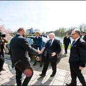 Martin Schulz welcomes Irish president Michael D.Higgins to the Parliament in Strasbourg