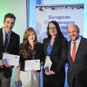 Winners of the 2013 Charlemagne Youth Price together with EP president Martin Schulz