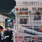 International newspapers at a kiosk