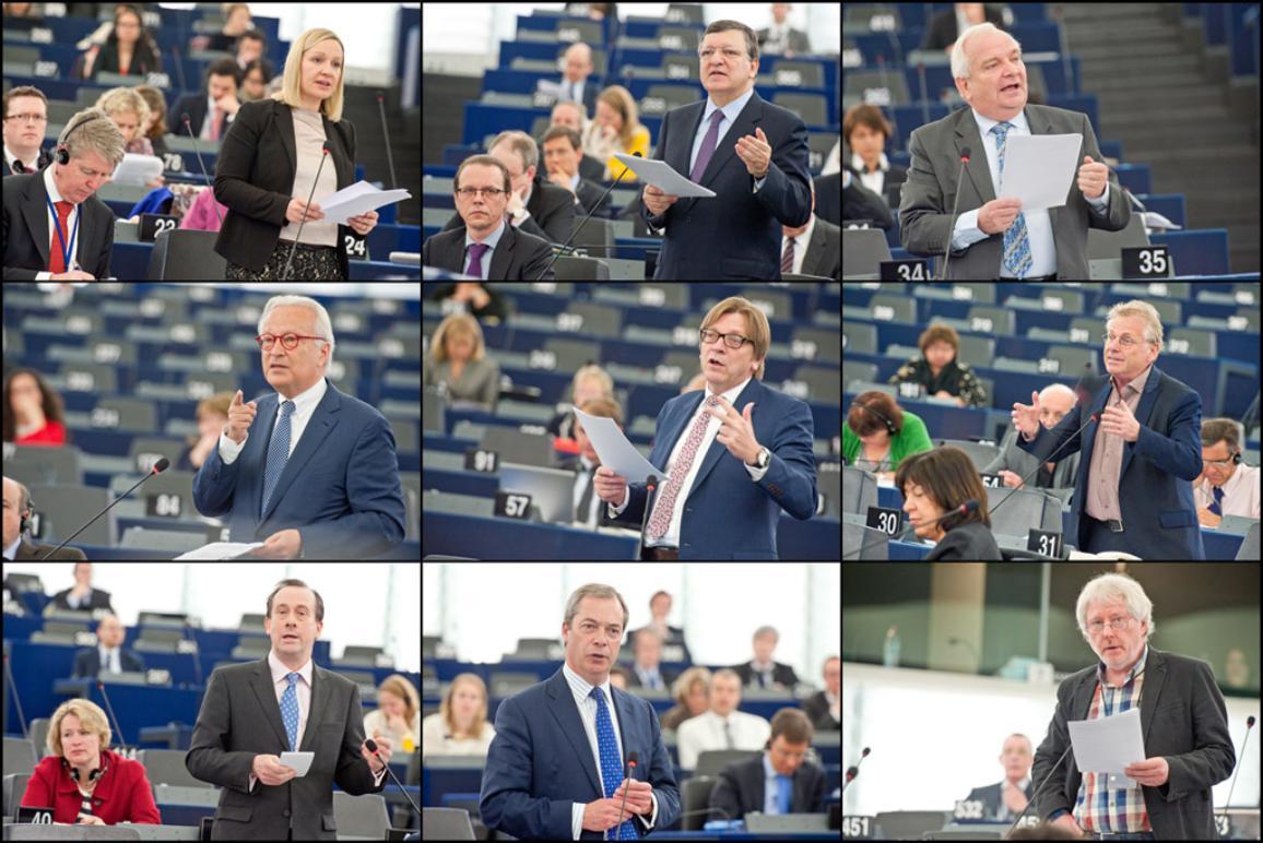 ratsmitglied Lucinda Creighton, Kommissionspräsident José Manuel Barroso, Joseph Daul (EVP), Hannes Swoboda (S&D), Guy Verhofstadt (ALDE), Daniel Cohn-Bendit (Grüne), Martin Callanan, (EKR), Nigel Farage (EFD), Jürgen Klute (Linke)