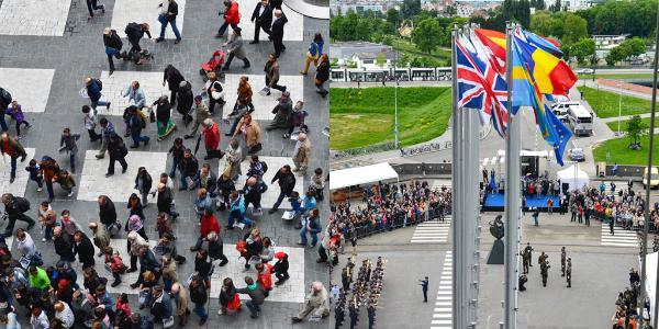 Personnes sur l'Esplanade du Parlement européen à Strasbourg