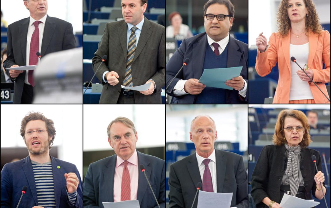 Prism debat: Van links naar rechts en van boven naar onder Tonio Borg, Manfred Weber, Claude Moraes, Sophie in 't Veld, Jan Philipp Albrecht, Timothy Kirkhope, Jaroslav Paška en Marie-Christine Vergiat.