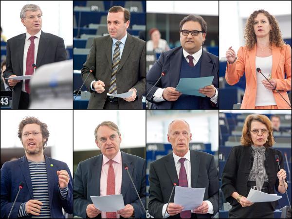 L-R: Commissioner Borg, MEPs Weber (PPE), Moraes (S&D), in't Veld (ALDE), Albrecht (Verts/ALE), Kirkhope (ECR), Paska (EFD) and Vergiat (GUE/NGL)