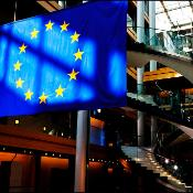 he EU flag up to the red carpet entrance of the EP in Strasbourg