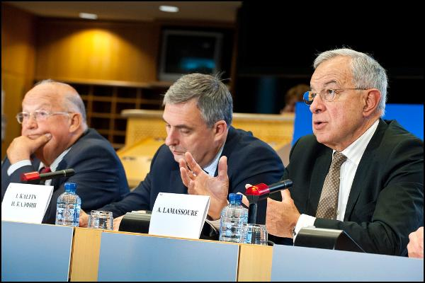 Three EP negotiators of the MMF (R-L) Lamassoure, Kalfin and Dehaene - © European Union 2013 - European Parliament
