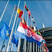 Parliament welcomes Croatia to the EU with a special flag ceremony at the entrance of the EP in Strasbourg.