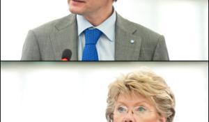 Foto:Padomes parstāvis Vytautas Leškevičius un komisāre Viviane Reding