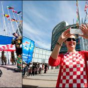 Welcome Croatia flag ceremony at the entrance of the European Parliament in Strasbourg