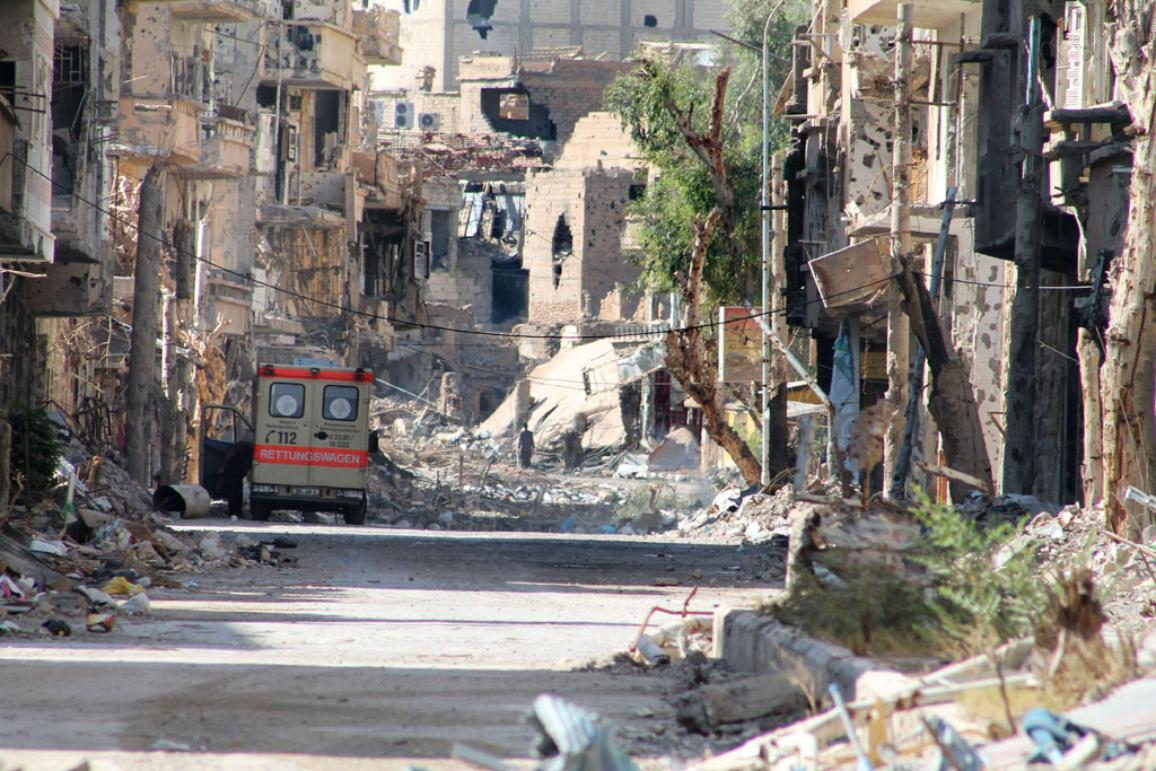 A general view shows a heavily damaged street in Syria's eastern town of Deir Ezzor