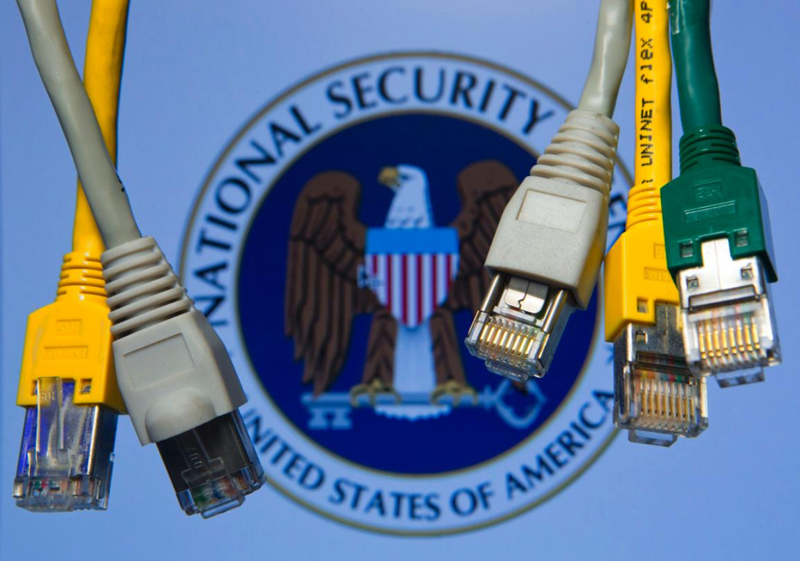 Network cables hanging in front of a computer screen showing the logo of the US National Security Agency