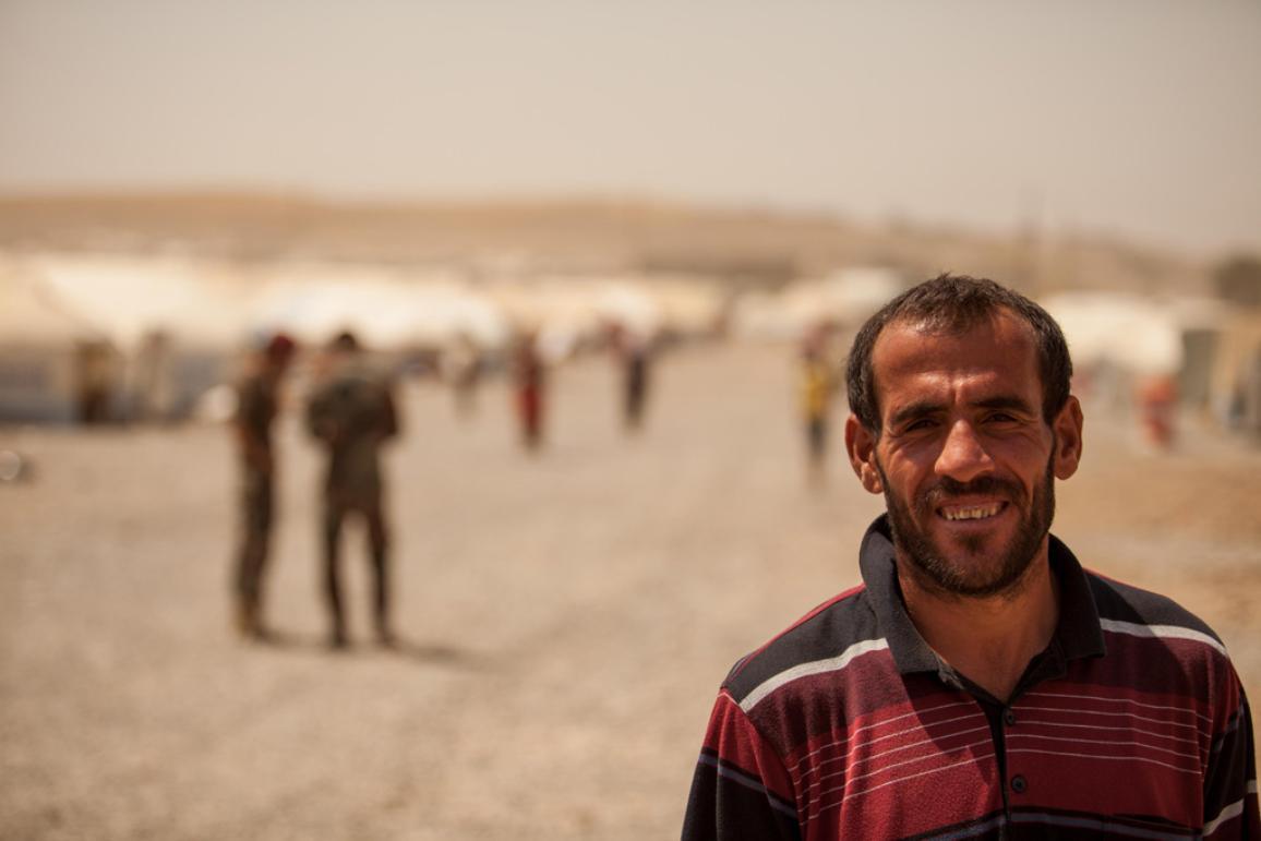 Syrian refugee near a camp