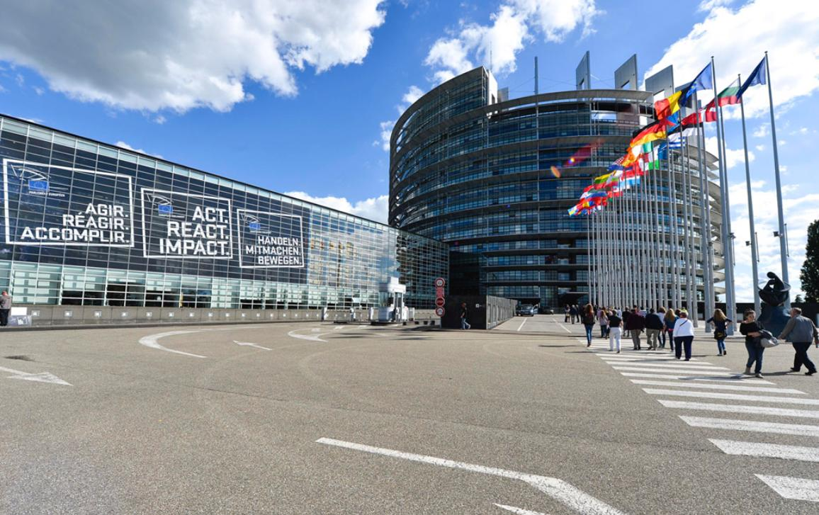 ACT, REACT, IMPACT information campaign banners outside the EP on EE2014