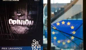 Poster and EU flag