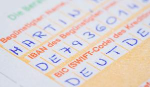 Transfer form for international transfers with IBAN and SWIFT-Code. ©BELGA-IMAGEBROKER