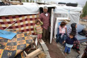 Syrian refugees at a makeshift camp