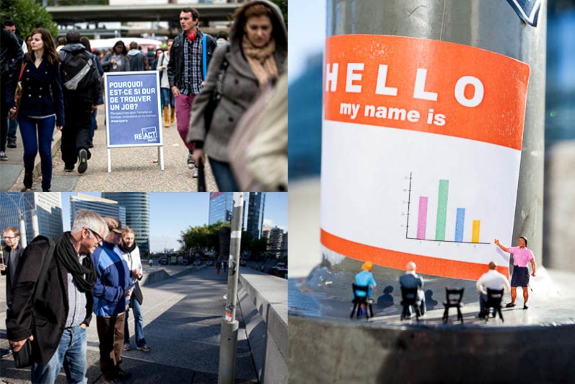 Imágenes de arte callejero en París sobre la situación del empleo