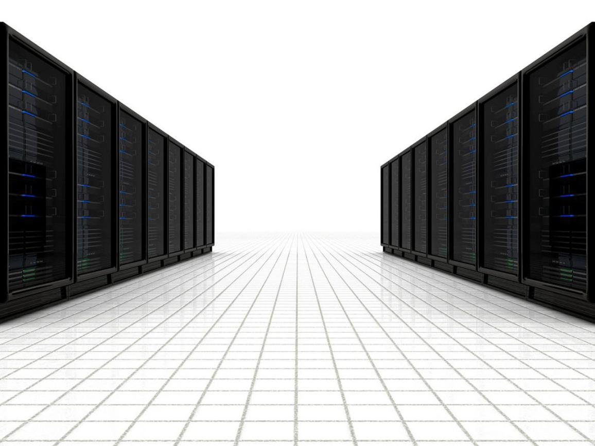 a line of  computer servers