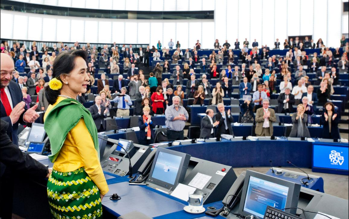 Myanmar/Burma militant and parliamentary opposition leader Aung San Suu Kyi received the Sakharov