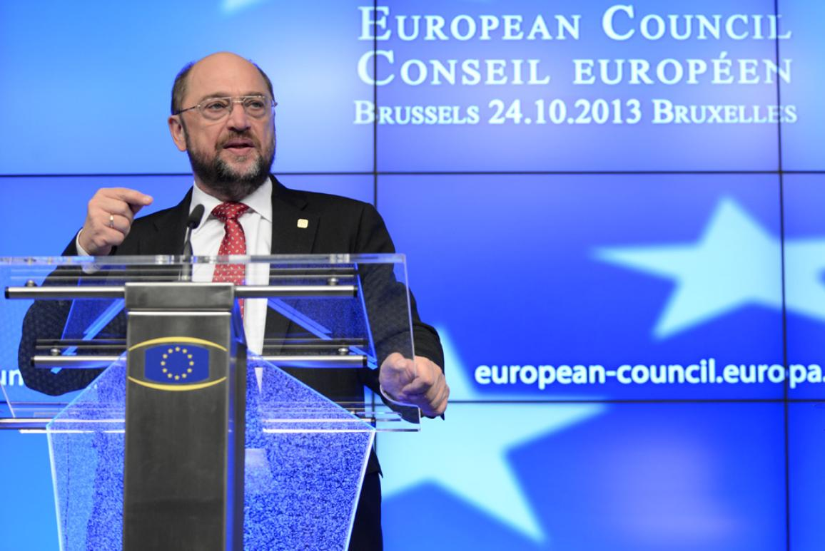 EP President Martin Schulz press conference at the European Summit ©The Council of the European Union