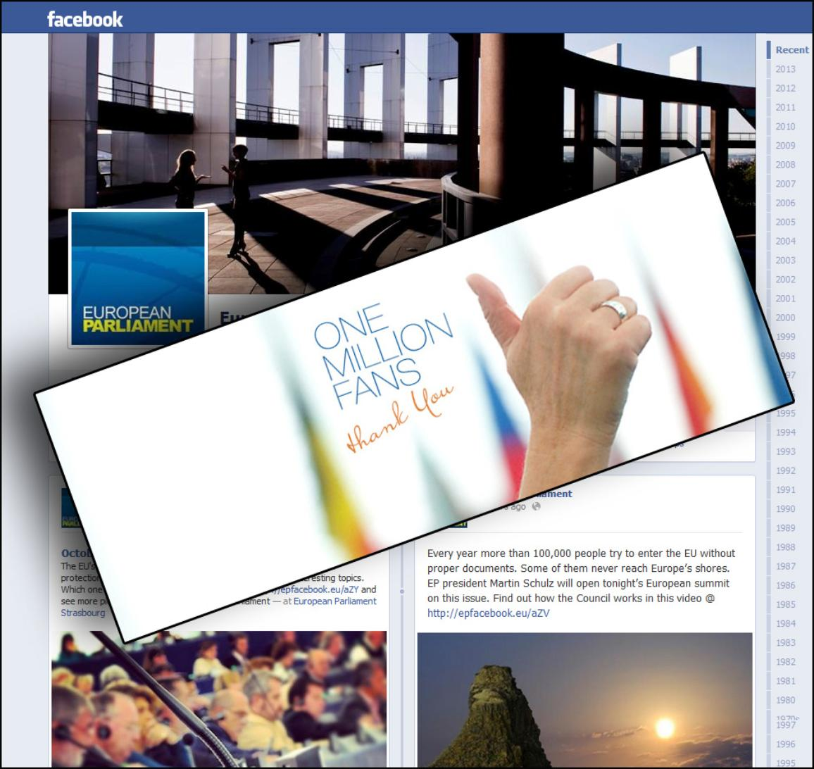 European Parliament's Facebook page reaches one million fans