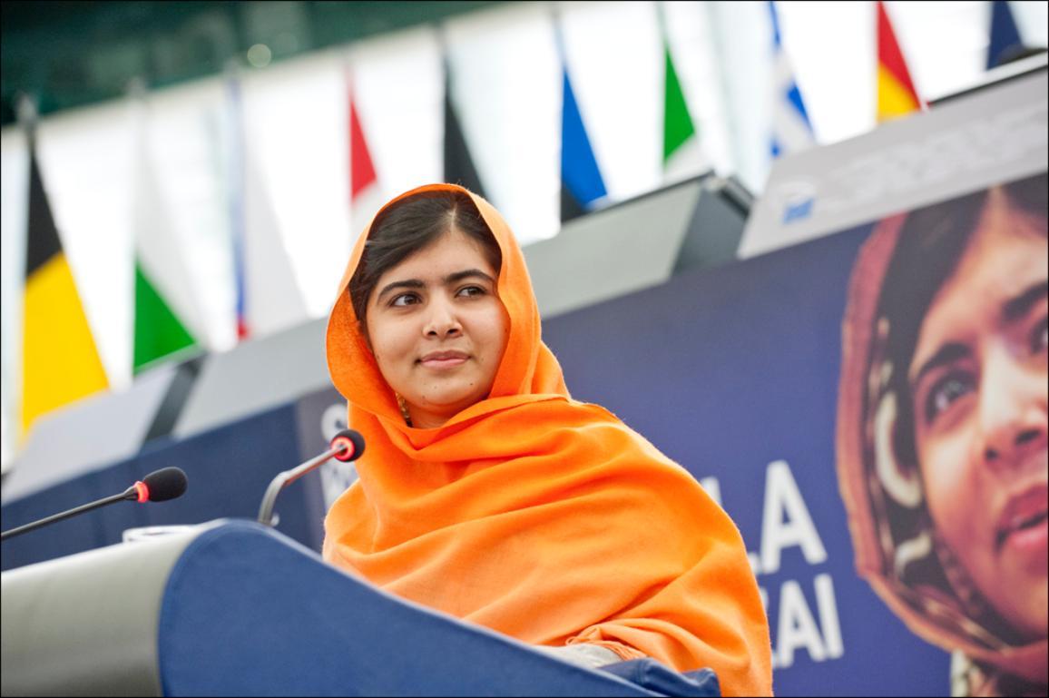 Photo de Malala Yousafzaï lors de son discours au Parlement européen