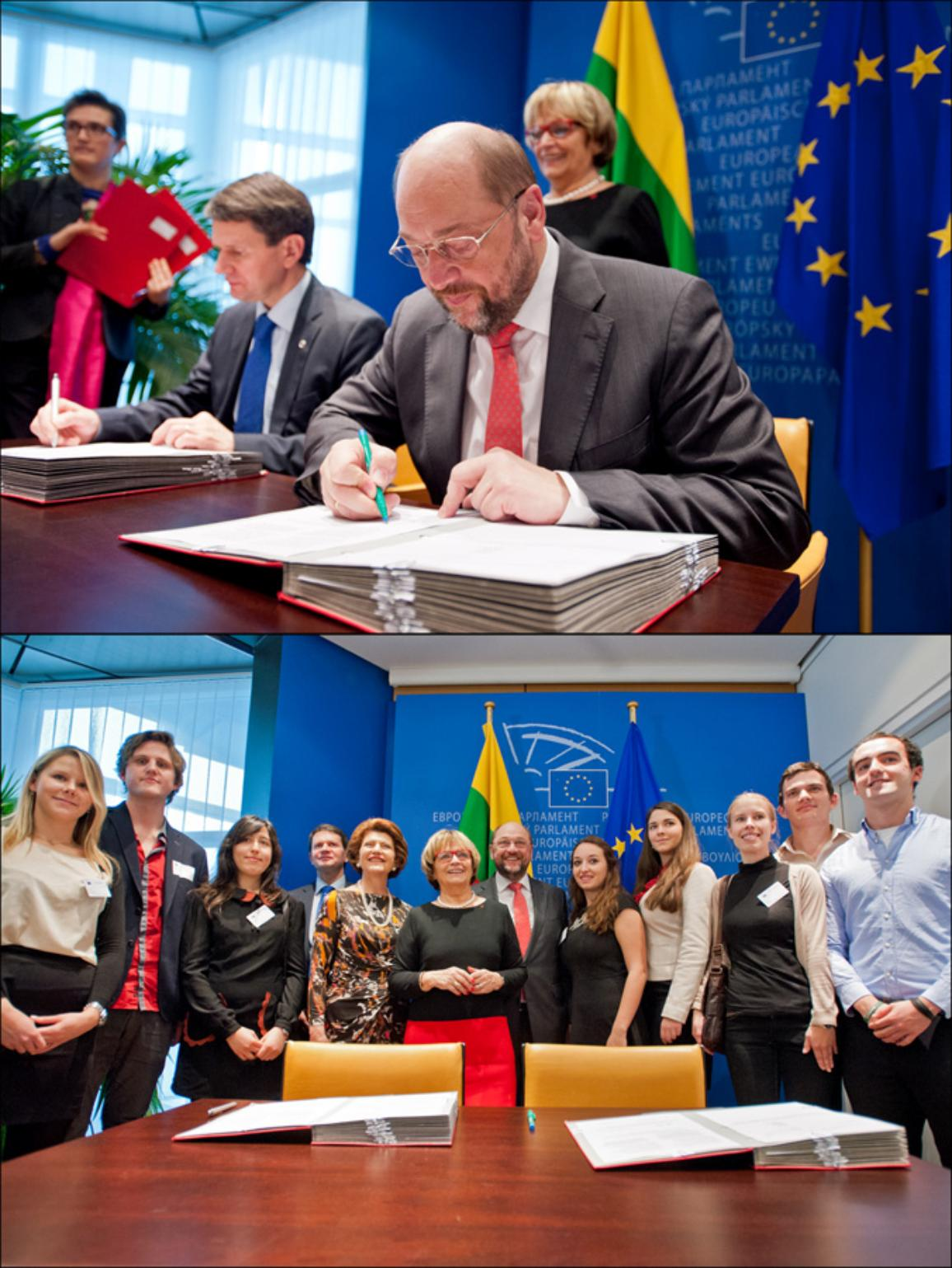 The Erasmus program signed by the #EP President Martin Schulz and Council rappresentative Vytautas Leskevicius