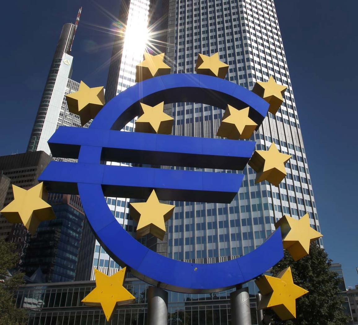 ECB logo in front of the headquarter in Frankfurt ©BELGA_AFP_D.Roland