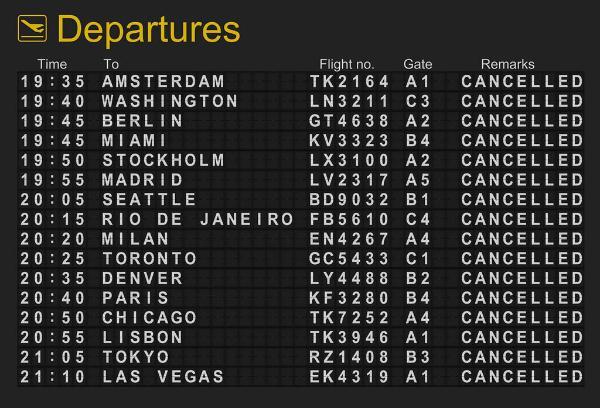 Un panneau d'affichage où tous les vols annoncés sont annulés