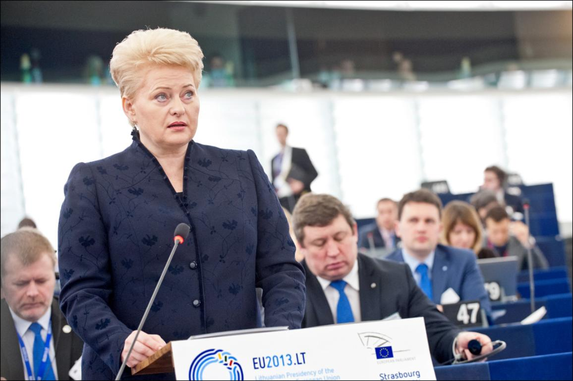 Dalia Grybauskaitė, Presidenta de Lituania, ante el pleno de la Eurocámara en Estrasburgo