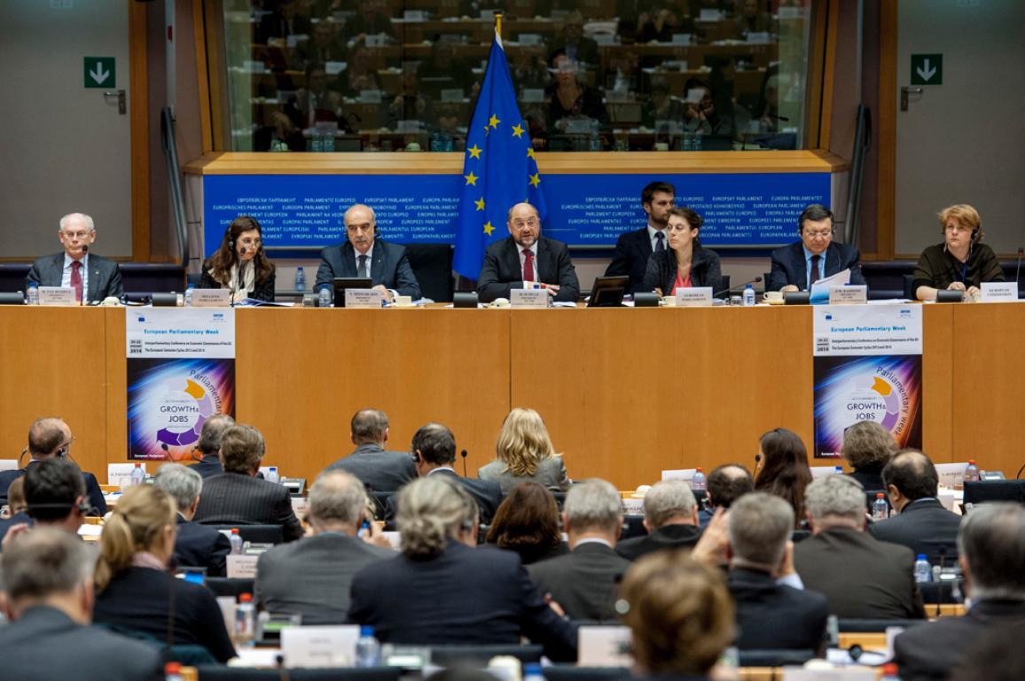 Interparliamentary Conference on Economic Governance of the European Union: Opening statements by Martin SCHULZ, Vangelis MEIMARAKIS, José Manuel BARROSO and Herman VAN ROMPUY
