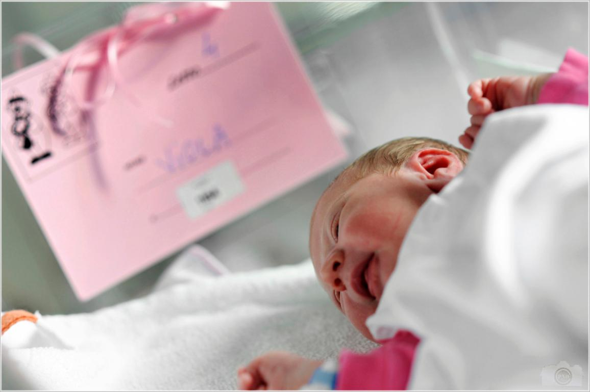 Viola, a two days old baby, in her hospital bassinet. ©