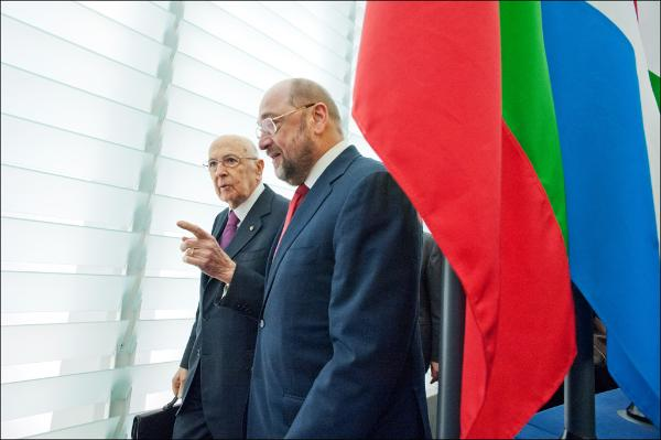 EP President Martin Schulz and Italian President Giorgio Napolitano enters the Plenary Chamber in Strasbourg