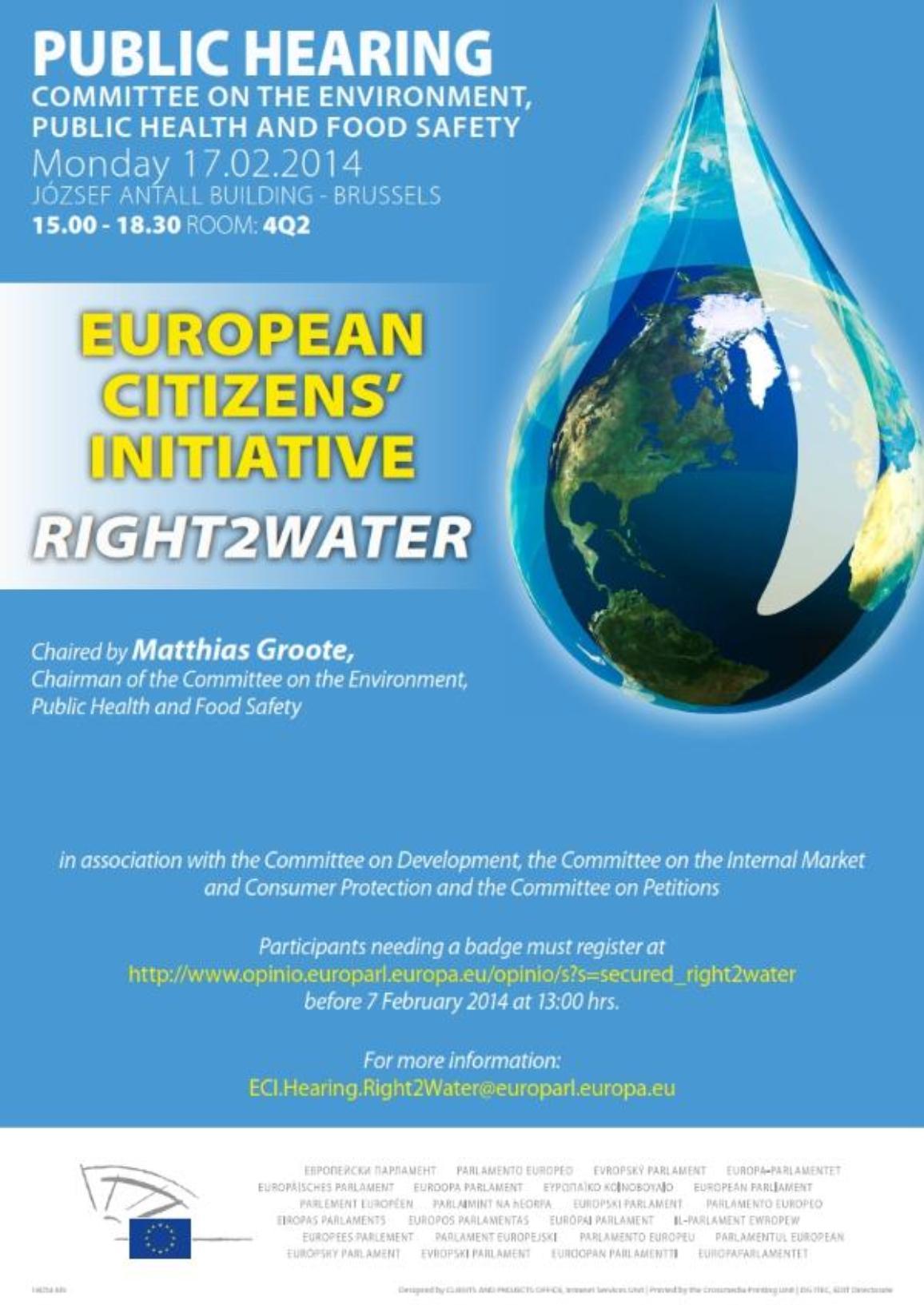 Public Hearing - European Citizens' Initiative: Right 2 water