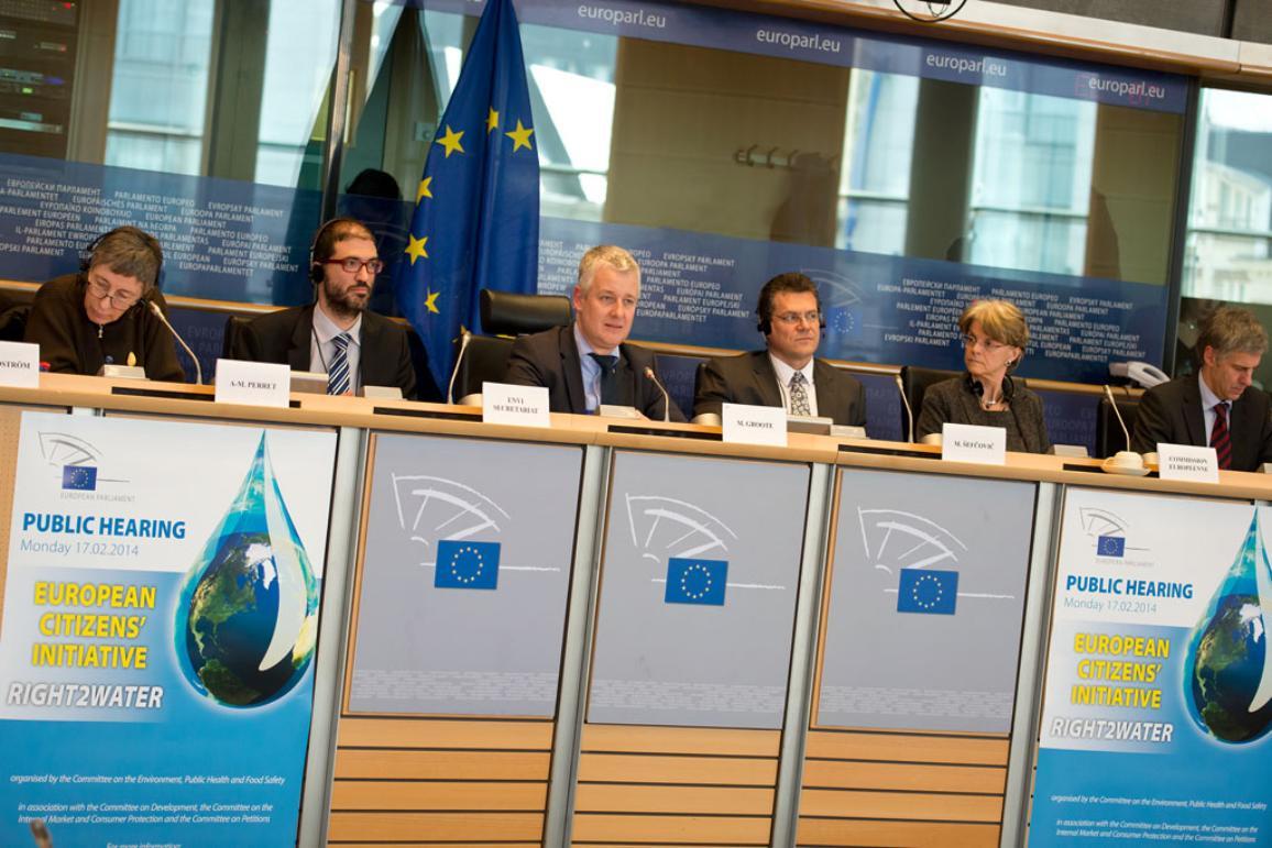 L to R: A-M Perret, ENVI Secretariat, M. Grotte, M. Sefcovic, EC, EC