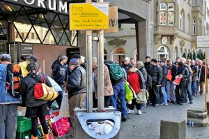 Food given off for homeless persons, Germany