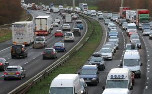 Vehicles travel along the M6 motorway in UK