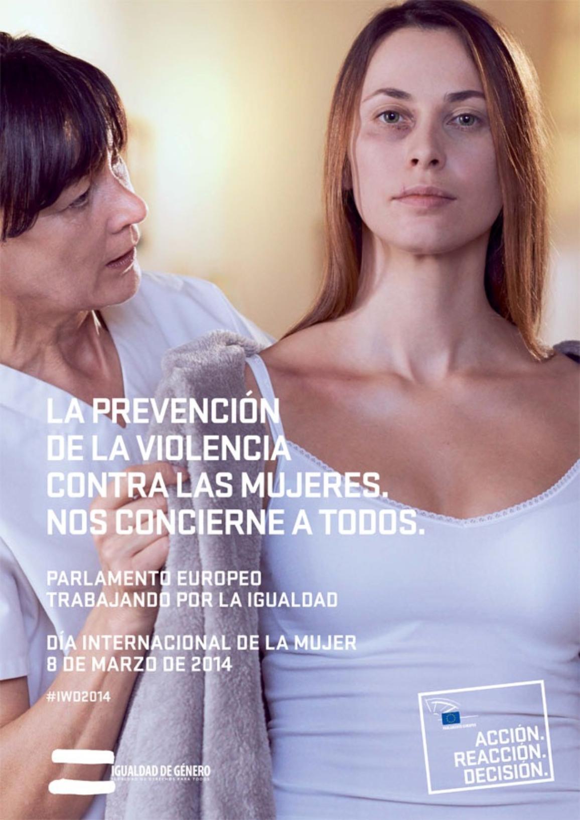 Póster del Parlamento Europeo sobre el Día Internacional de la Mujer, cuyo tema de este año es prevenir la violencia contra las mujeres.